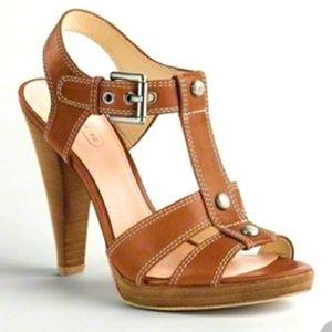 COACH Ginger Tan Leather Studded High Heel Sandels